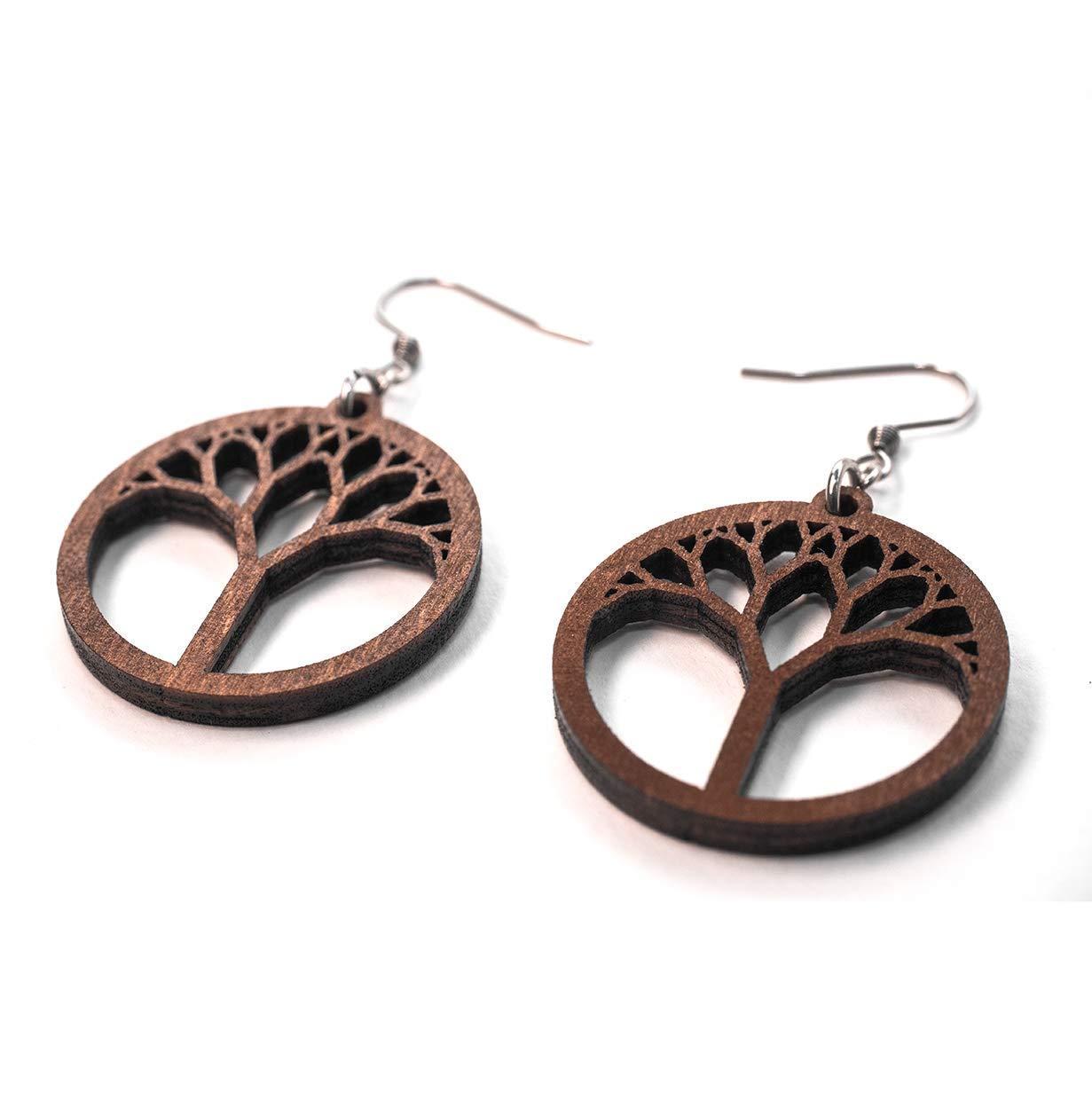 A pair of wooden leafs wooden earrings for women wood earrings dangling large hoop earrings handmade earrings gift wooden hoops