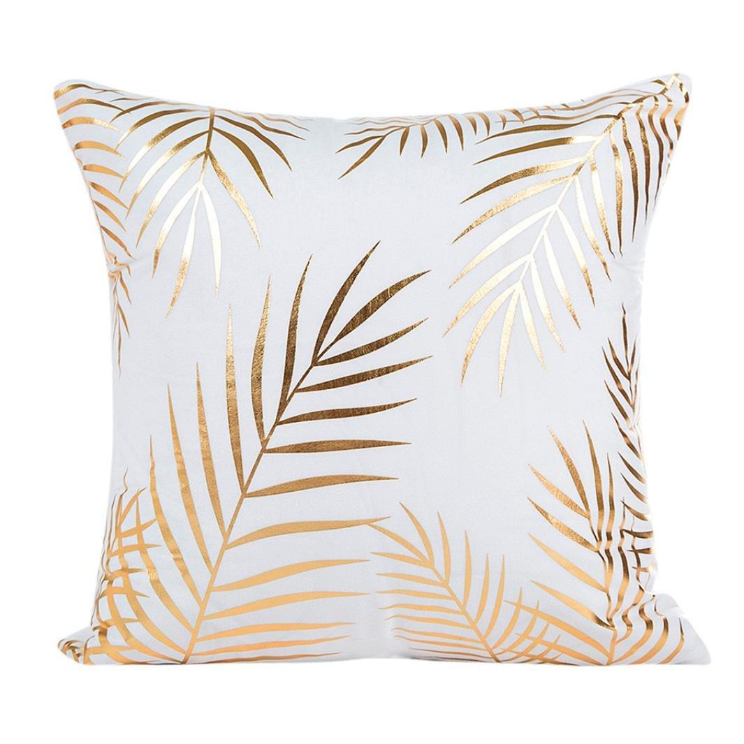 Clearance! Wearefin Gold Foil Printing Pillow Case Sofa Waist Throw Cushion Cover Home Decor (White D)