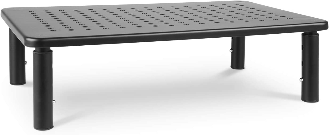 Monitor Stand Riser - 3 Height Adjustable Monitor Stand Ideal for Laptop, Desktop, iMac, PC, or as Small Printer Shelf - Superior Ergonomic Metal Desktop Stand with Ventilation Holes for Airflow