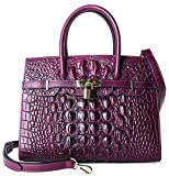 Pijushi Embossed Crocodile Purse Genuine Leather Satchel Handbags Office Padlock Bag Holiday Gift 9016(30cm Violet Croco)