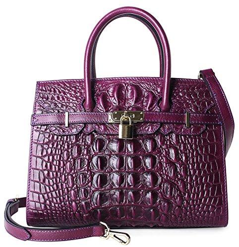 Pijushi Embossed Crocodile Purse Genuine Leather Satchel Handbags Office Padlock Bag Holiday Gift 9016(30cm Violet Croco) (Crocodile Look Leather)