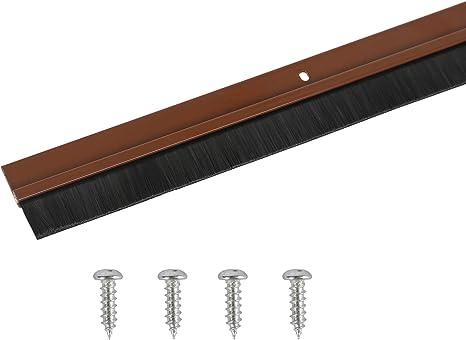 Toolerando Burlete de aluminio para puertas con terminación en cepillo/Sellado aislante de aluminio con cepillo para puertas, incl. montaje con tornillos, 100 cm, marrón: Amazon.es: Bricolaje y herramientas