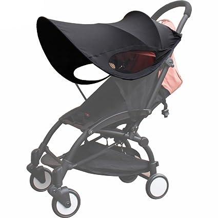 TOOGOO Version mejorada de Baby Stroller Sun Visor Carriage Sun Shade Toldo cubierta para cochecitos de bebe Accesorios Negro