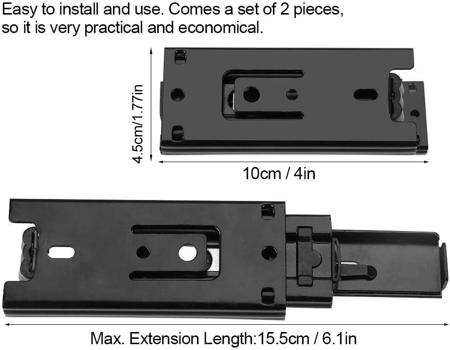 3 Sections de Glissi/ère /à Billes sur Rails Glissi/ère de Glissi/ère /à Billes T/élescopiques 2pcs Coulisses de Tiroir Courtes Coulisses de Tiroir /à Extension Totale Taille : 10cm//4in
