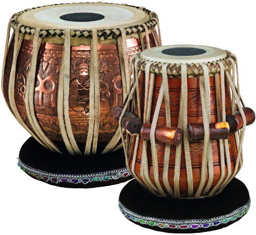 Meinl Percussion PRO-TABLA Professional Tabla Set with Goat Skin Heads, 9-Inch Bayan and 5 1/2-Inch Dayan by Meinl Percussion