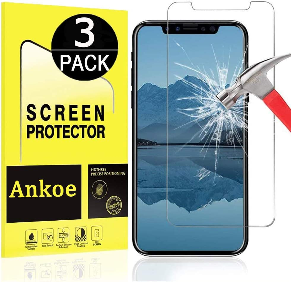 [3-Pack] Ankoe for iPhone XR / 11 Screen Protector, 2.5D Edge 0.33mm Clear film Anti-Scratch and anti-Fingerprint Ultra Slim HD Clear Premium Tempered Glass for iPhone 11 / XR 6.1 Inch