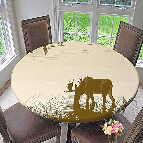 Mikihome Picnic Circle Table Cloths Elk Drinking Water in River Wildlife Scenery Cream Sepia for Family Dinners or Gatherings 50