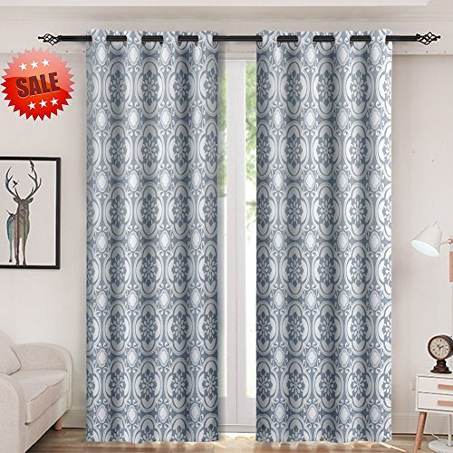 Haperlare Medallion Blackout Curtains,Medallion Print Thermal Insulated Blackout Window Curtains for Bedroom,Medallion/Floral Pattern Grommet Top Curtains (52