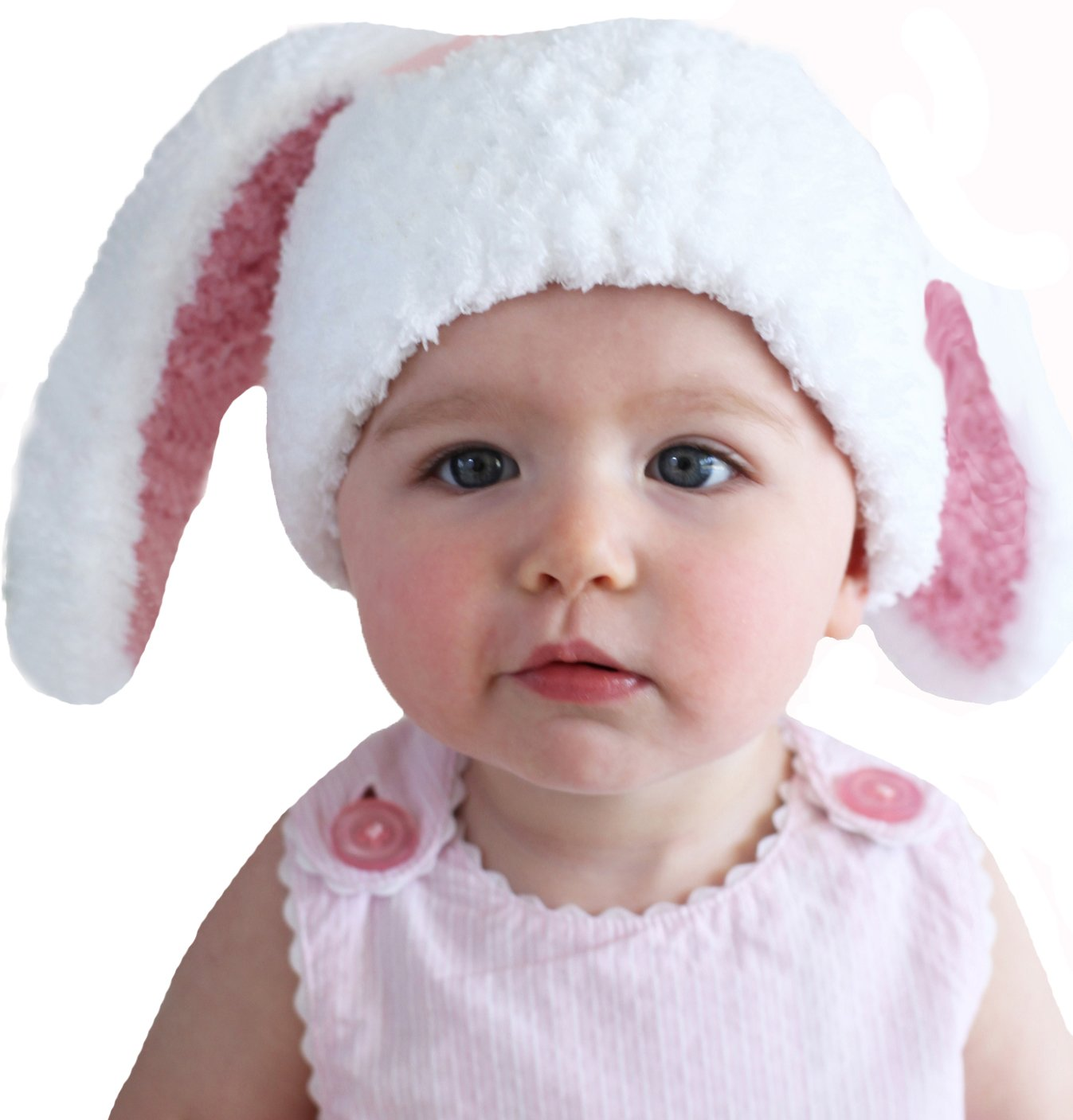Melondipity Girls Floppy Bunny Baby Hat - Handmade White with Pink Ears Premium Beanie (Newborn) by Melondipity Baby Hat