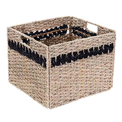 Villacera Handmade Black Striped Rectangle Wicker Storage Bins, Foldable Baskets Made of Water Hyacinth | Set of 2