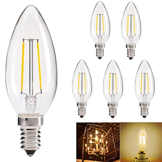5 x 2 W E14 bombilla LED filamento Bombilla Lámpara antigua Repuestos para la bombilla de