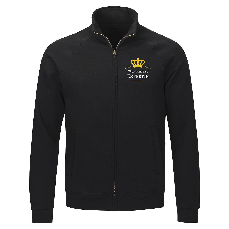 Lustig Geschenk Sweatshirt Jacke Expertin mit Ihrem Text//Wunschtext S bis 2XL Beschriftung//Individualisierung schwarz Herren Gr