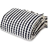 battilo Navy and White Chain Link Knit Fashion Throw Blanket. 60'' x 50'' Inc
