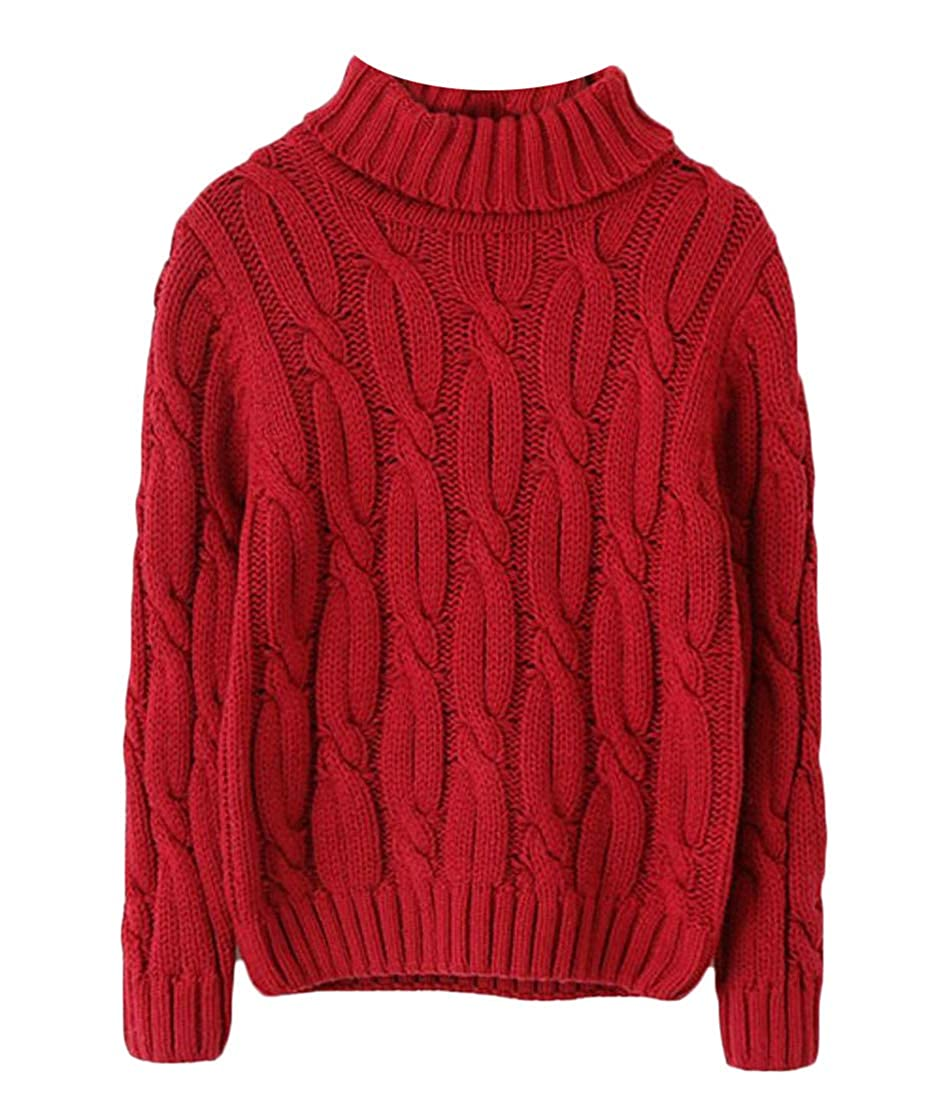 Macondoo Boys Childrens Solid Color Turtleneck Autumn Winter Cable Knitted Sweaters