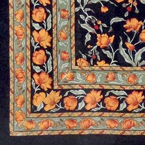Unique Handmade 100% Cotton French Floral Tablecloth 60x60 Square Black & Amber