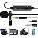 Lavalier Lapel Microphone with Omnidirectional Condenser Clip-on Mic with Jack Adapter & 6.5mm Adapter, Hands Free, for iPhone, Android, Camera, DSLR, Sony, PC, Laptop, Youtube (Plus)