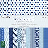 """Dovecraft Back To Basics Blue Skies Collection - Paper Pack 12""""x12"""" (12 Designs, FSC)"""