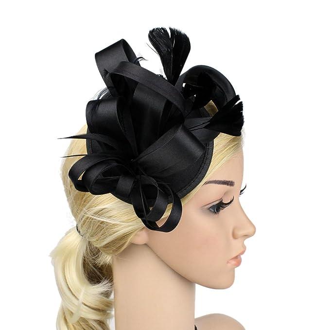 Sunzeus Feathers Bridal Hats Wedding Accessories Satin Flora Women s ... 541e7a87e63