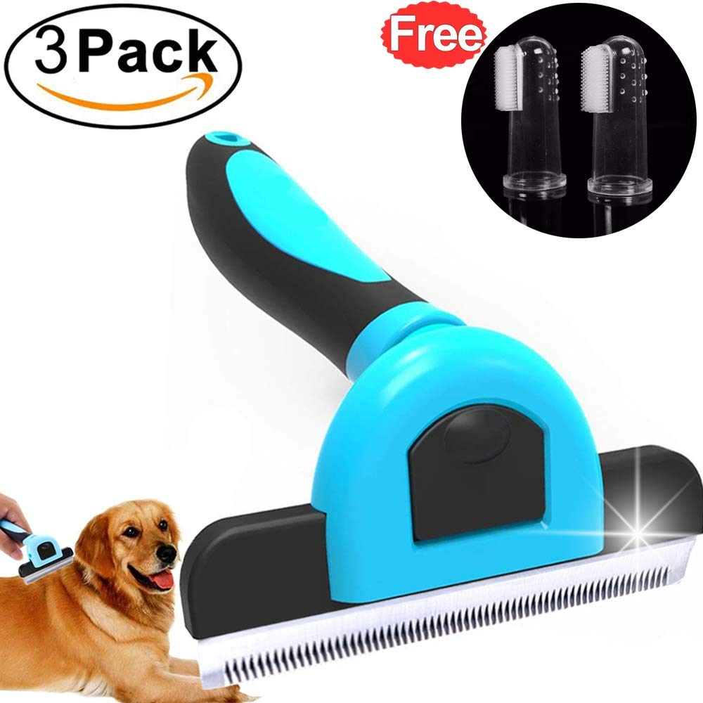 Pet Brush for Shedding Dog Cat Grooming Tools with FREE 2 Finger Toothbrush Kit Long Short Fur Comb Dog Hair Remover Brush for Small Large Animal Rabbit Trimming Brushes