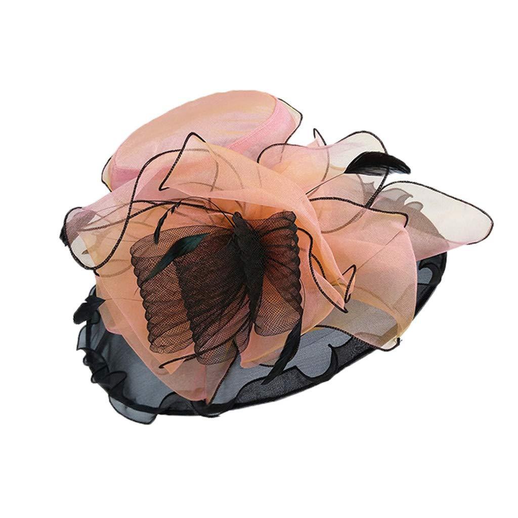 WDTSA Elegant Ladies Church Hat Feather Fascinator Bridal Tea Party Wedding Hat