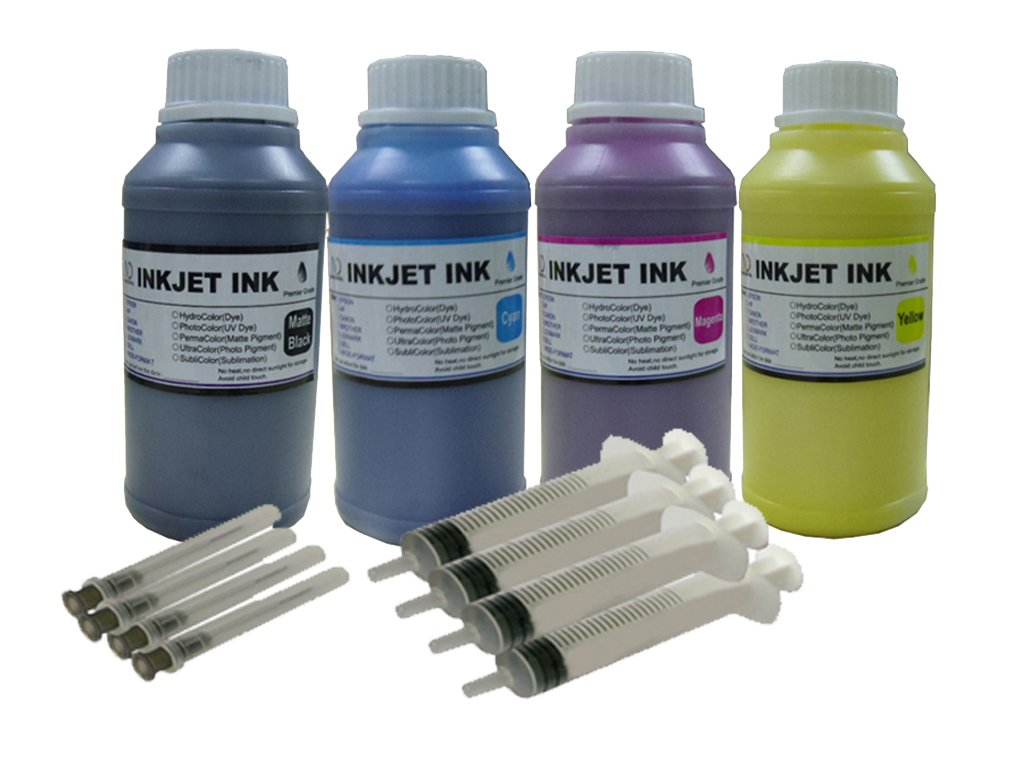 ND R@ 4x250ml Pigment Refill Ink Set for Epson 802 XL T802 Workforce Pro WF-4720 WF-4730 WF-4734 WF-4740 refillable cartridges or cis ciss Ink System + Free 4 Syringes
