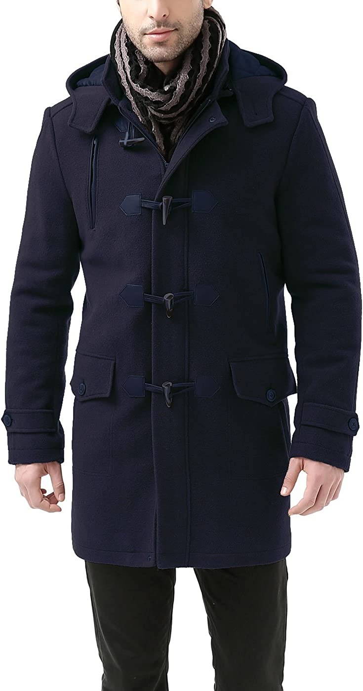 Regular and Big /& Tall BGSD Mens Tyson Wool Blend Leather Trimmed Toggle Coat
