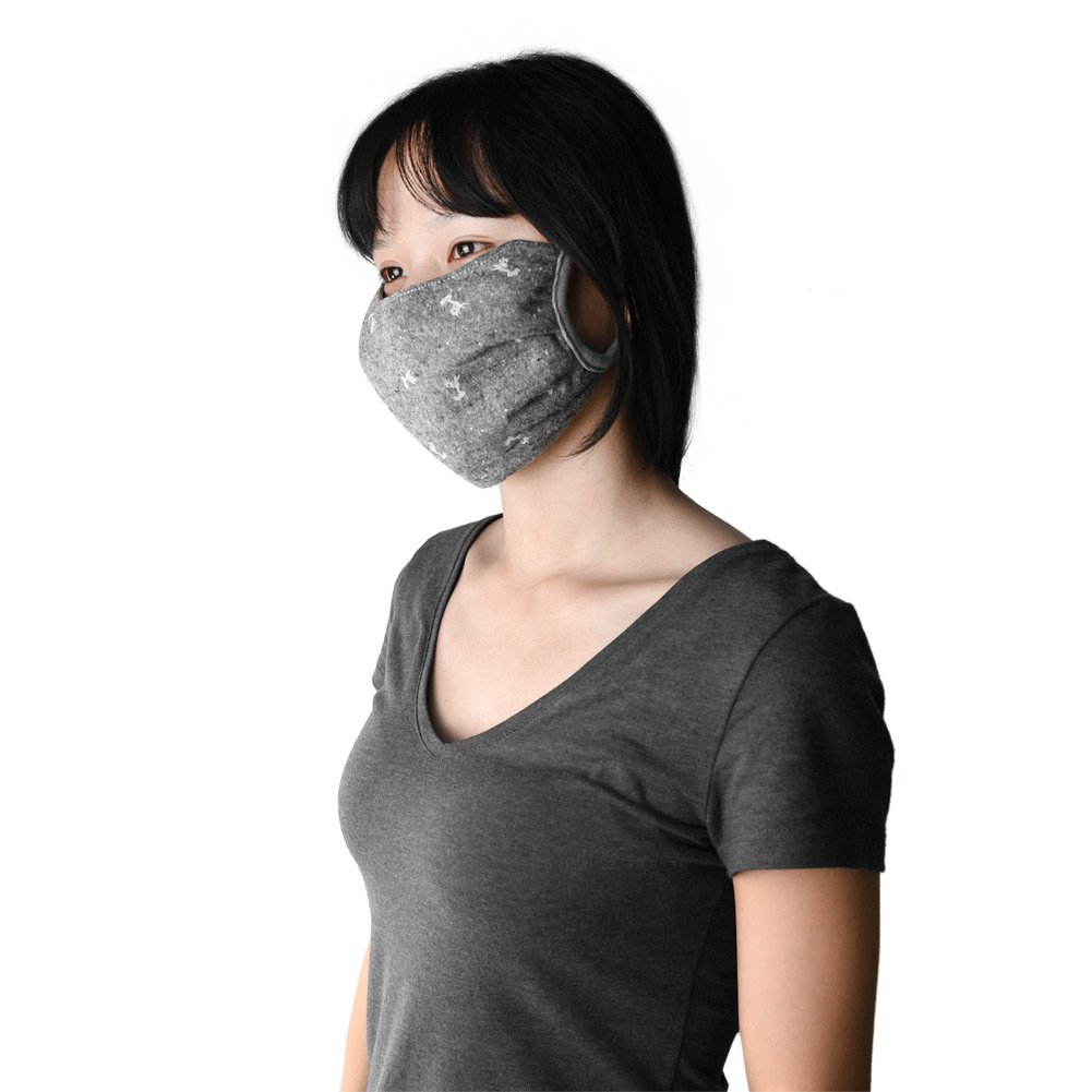 NKTM 4 Pack Unisex Cotton Mask Anti-dust Washable Reusable Mouth-muffle Windproof Protective Face Respirator for Winter One Size Fits Most