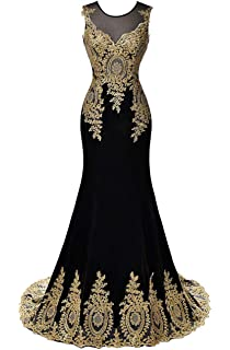 fb5a8bf6db1c DYS Women's Lace Appliques Mermaid Prom Evening Formal Dresses Illusion Neck