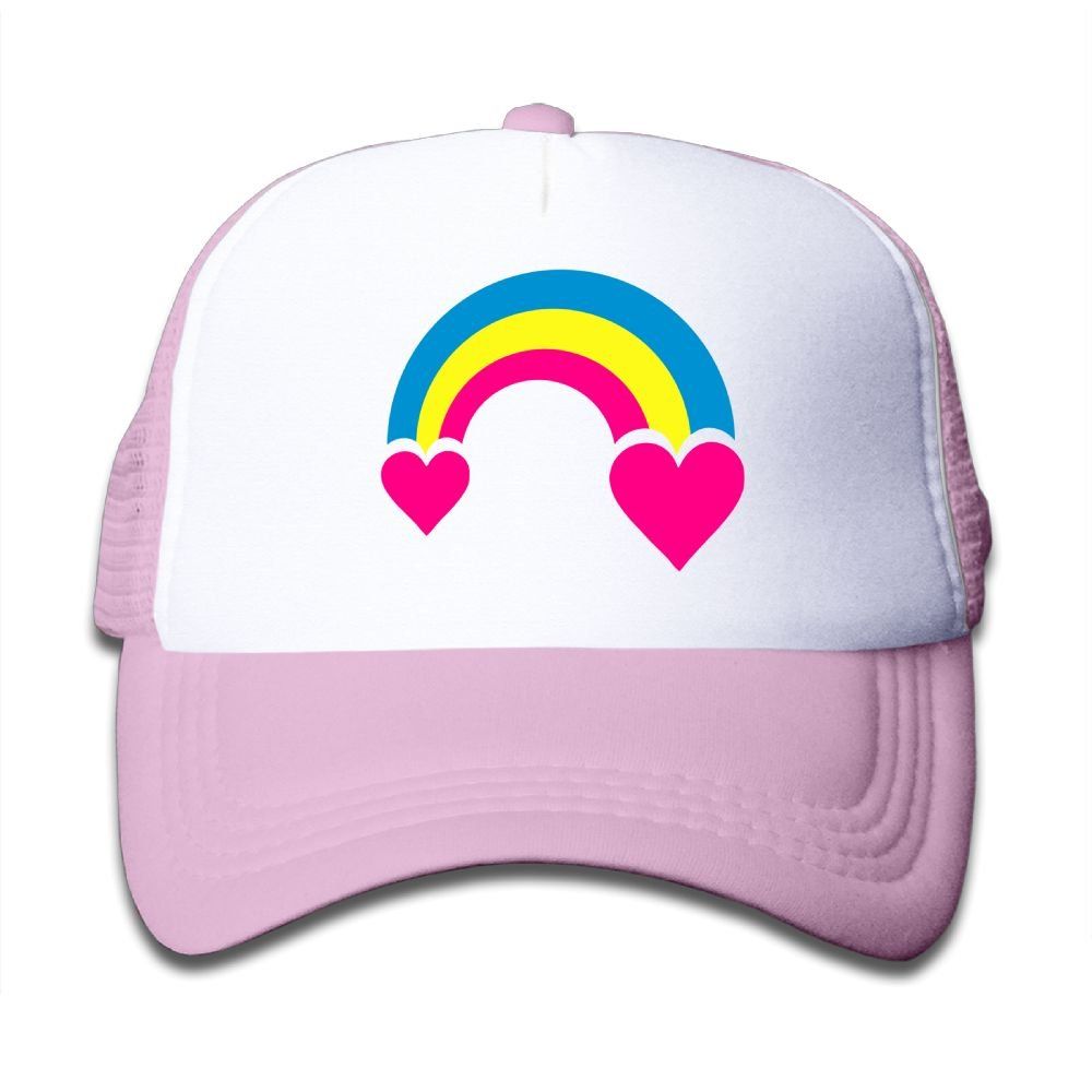 Qiop Nee Pink Mesh Baseball Caps Adjustable Kids Hats Rainbow & hearts Unisex