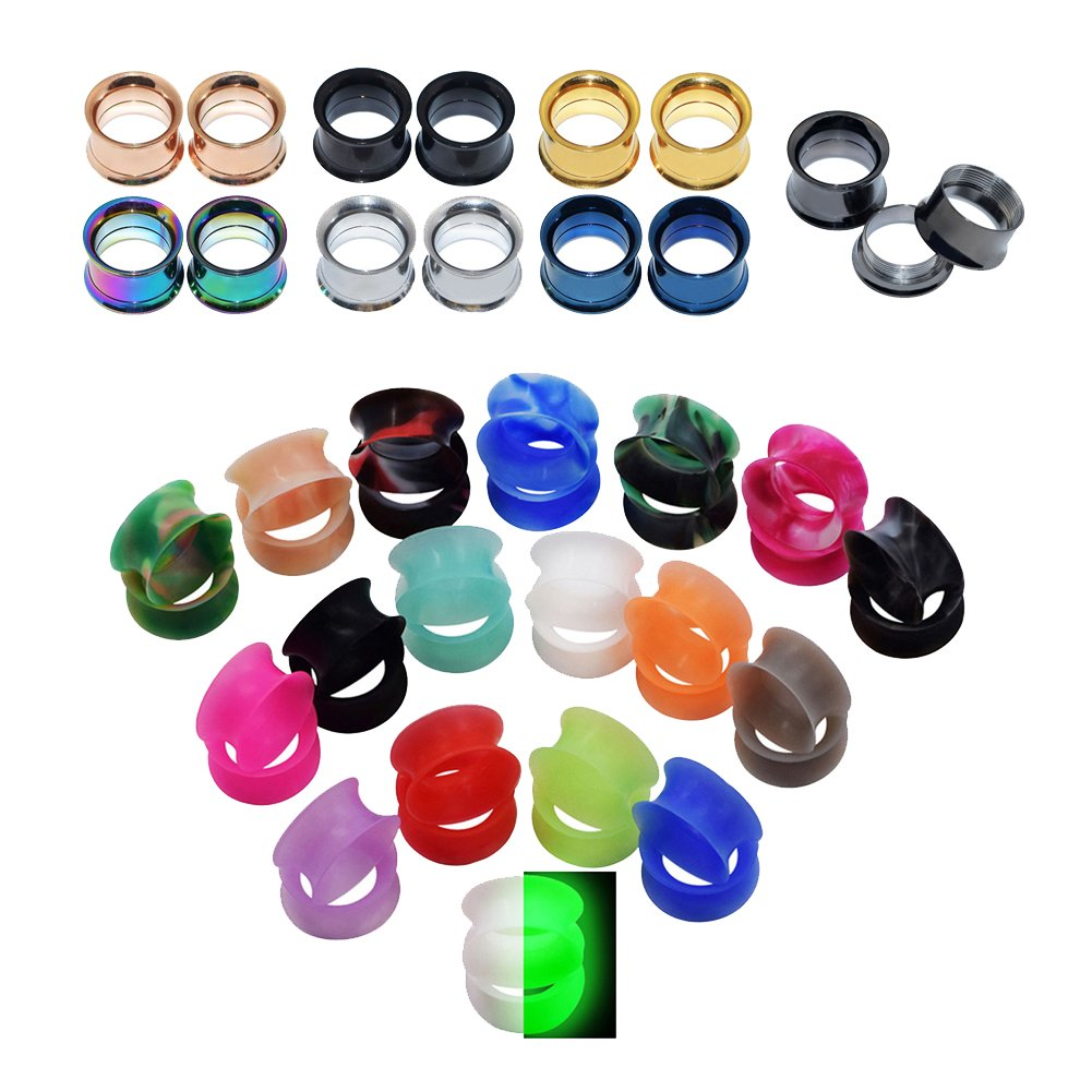 D&M Jewelry 50pcs Stainless Steel & Silicone Double-Flared Flexible Ear Stretching Tunnels Gauge 1/2''