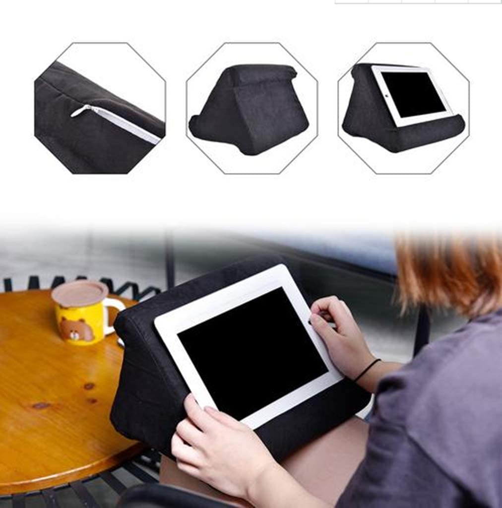 2 Clour Laptop Holder Tablet Pillow Foam Lapdesk Multifunction Tablet StandFoldable Triangular Used On Bed Floor Couch Blue Desk Lap