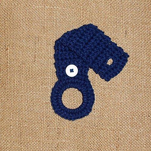 Navy Blue Crochet Hanging Towel Holder, Kitchen Decor ()