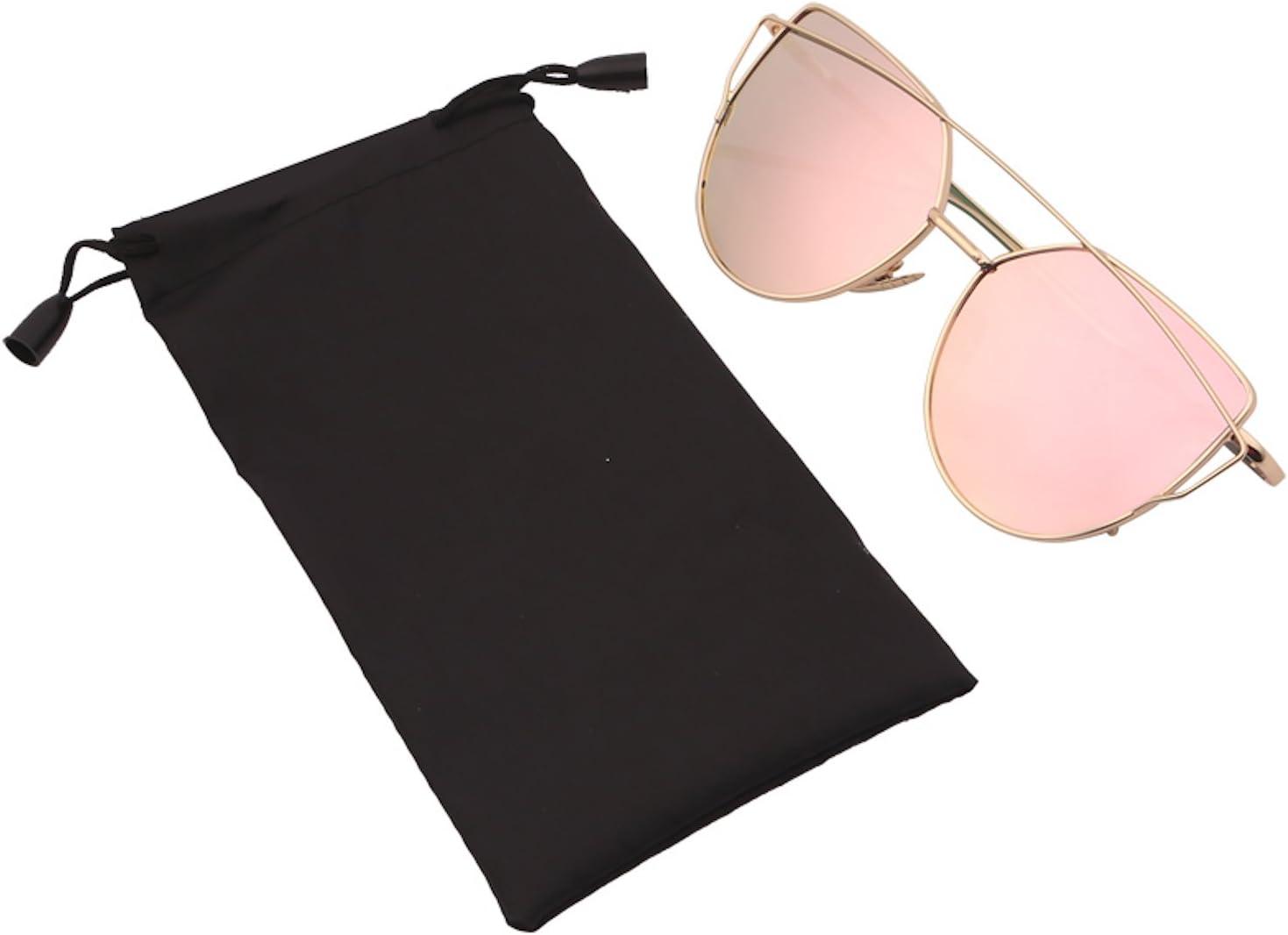 stile vintage classico riflettenti occhiali da sole Occhiali da sole da donna occhiali a specchio oro rosa forma con occhi di gatto estivi e alla moda