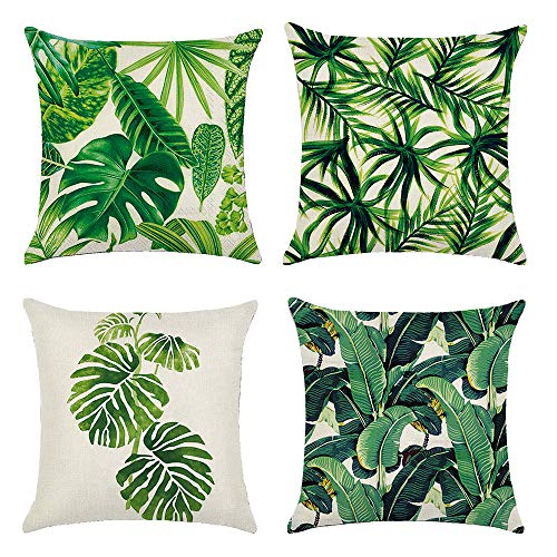 Winmany 4Pack Tropical Plant Leaves Throw Pillow Covers Leaf Rainforest Pillow Case Cushion Cover,Square Cotton Linen Decorative Throw Pillow Covers Cases for Sofa Bed Car Couch,18''x18'' (4Pack)