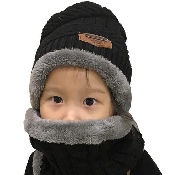 heekpek Unisex Bambini Cappello a Maglia Lana Cappellino con Sciarpa  Cerchio Sci Outdoor Sport Invernale Natale ecd0b520e238