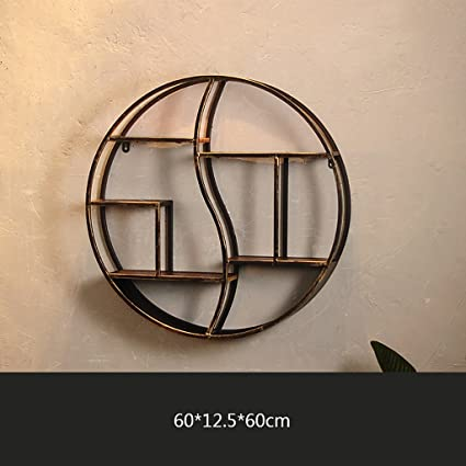 Retro Industrial Style Round Display Stand Living Room Creative Wall Mounted Wrought Iron Bookshelf