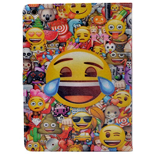 iPad 2017/2018 iPad 9.7 inch Case Unique Collage Multi Smiley Faces Emoji Pattern Leather Flip Stand Case Cover For Apple iPad 9.7-inch