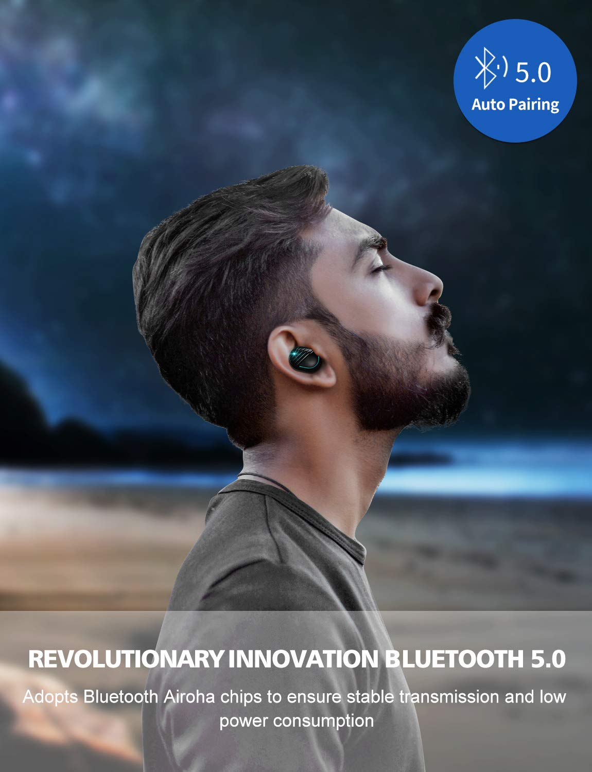 Bluetooth Earbuds, True Wireless Bluetooth 5.0 Headphones with 15 Hours Playtime, Touch Control, Auto Pair, Song Switching, Volume Control, Binaural Mic, in-Ear Mini Earphones by Aimus