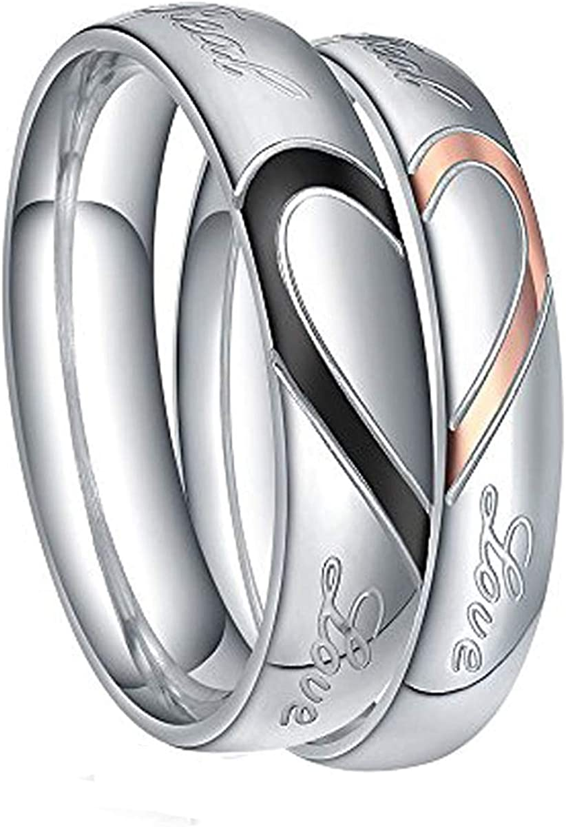 TIGRADE Stainless Steel Ring Real Love Heart Valentine Couples Wedding Band Size 4.5-15