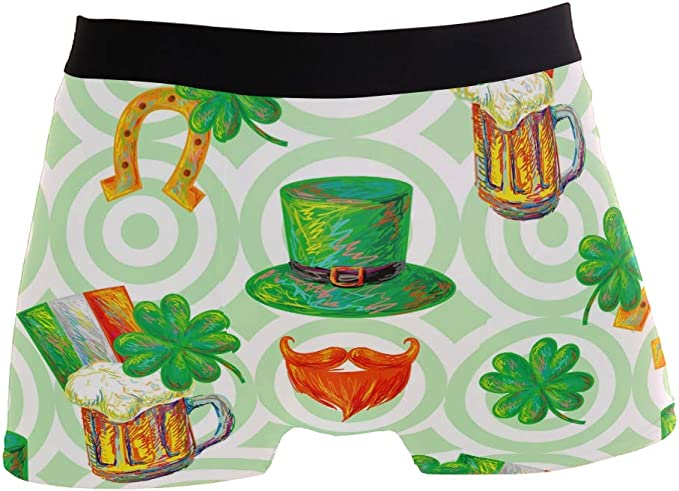 ZZKKO Shamrock Mens Boxer Briefs Underwear Breathable Stretch Boxer Trunk with Pouch S-XL