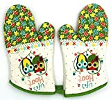 U SmartTech Cotton Oven Gloves Resistant 400 Degree Fahrenheit, 12 Inch Long, Set of 2 (Owl)
