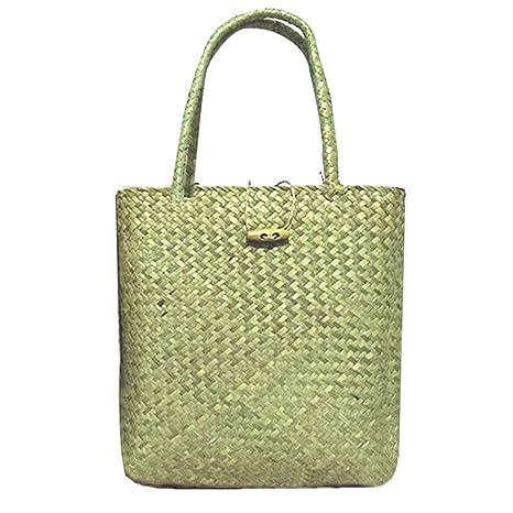 ffa47f010b2a Amazon.com: Fashion Straw Bag Women Handbag Summer Rattan Bags ...