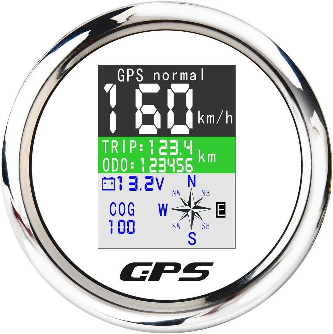 White ELING Universal TFT GPS Speedometer Adjustable Odometer with Voltmeter 9-32V for Car Motorcycle Tractor Truck 85mm
