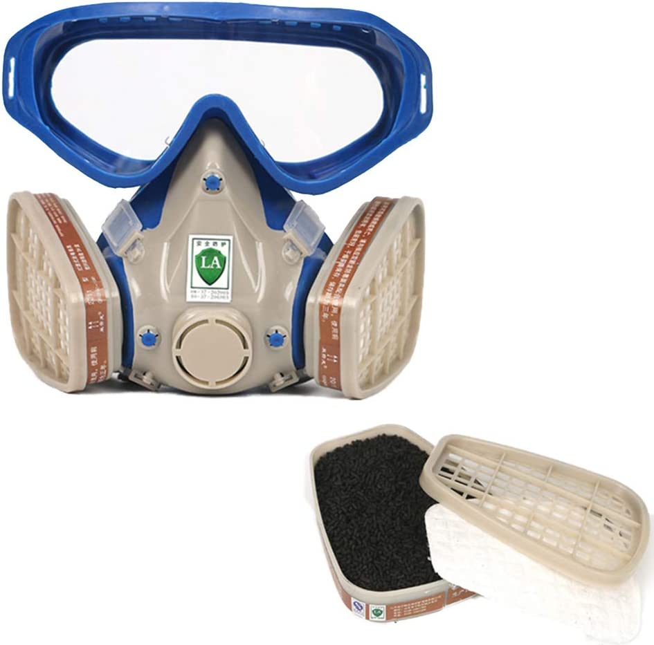 WDNM Máscara De Gas, Máscara Respiratoria, Máscara Antipolvo, Reutilizable, con Tapones para Los Oídos, Gafas Y Filtros para Protección contra El Polvo, Pulido, Etc.
