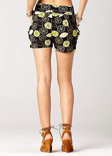 cinnamou Damen-Sommer-Print-Taschenshorts Frauen-Damen-Sommer-Frucht-gedruckte Taschen-Kurzschluss-weiche Harem-Hosen-Hose
