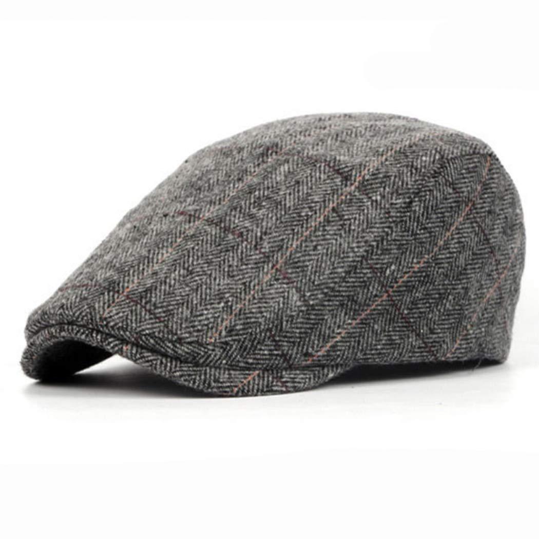 58ffce95f62 Amazon.com  Funnmart Winter Spring Wool Striped Baret Hat Men Women British  Unisex Woolen Flat Cap England Retro Beret Caps Causal Duckbill Hat Boina   ...