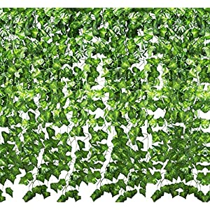 YOUR GIFT Artificial Ivy Green Leaves Vine Fake Ivy Wreaths Wedding Arch/Floral/Indoor Outdoor/Front Porch/Imitation of Green Plants 12 Strands 84 ft 113