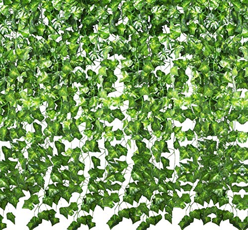 YOUR GIFT Artificial Ivy Green Leaves Vine Fake Ivy Wreaths Wedding Arch/Floral/Indoor Outdoor/Front Porch/Imitation of Green Plants 12 Strands 84 ft