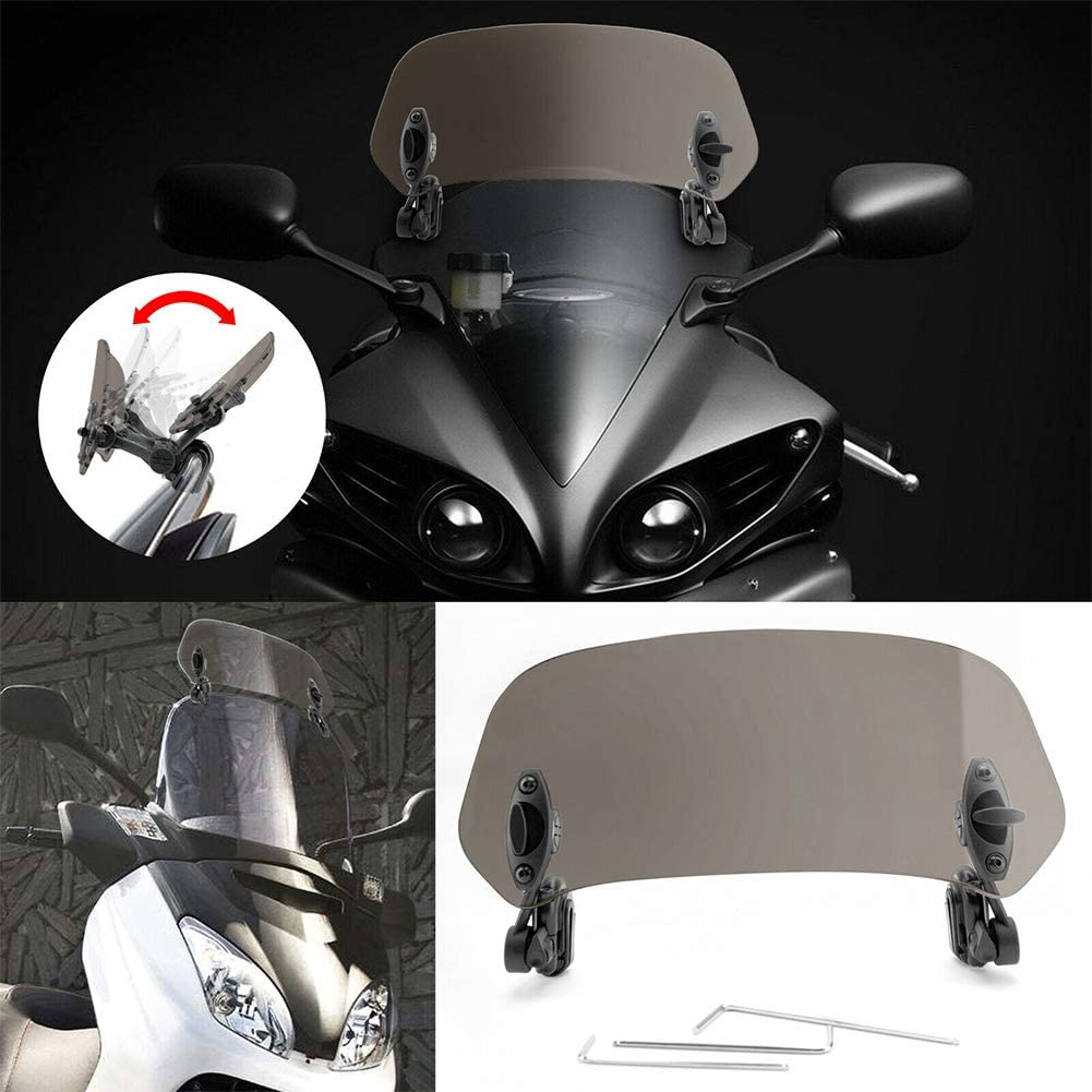 gris Aileron dextension de pare-brise de moto r/églable d/éflecteur dair pour Honda BMW F800 R1200GS Kawasaki Yamaha