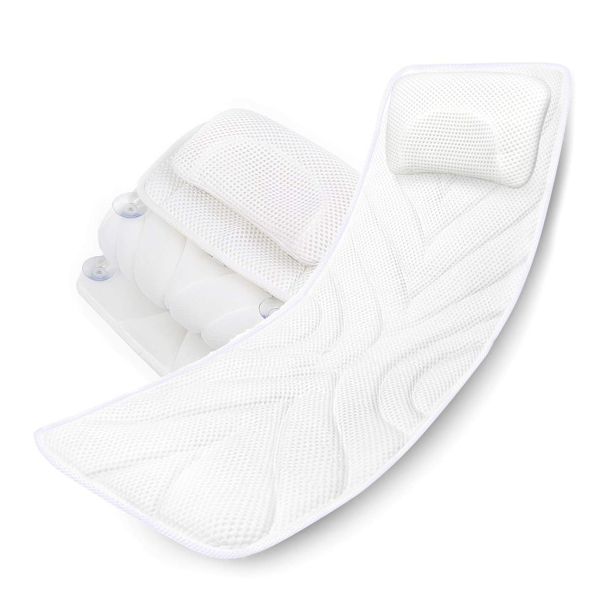 Bath Rest Spa Bath Pillow Mattress, Full Body Luxury Soft Quilted Cushion Mat with Large Non Slip Suction Cups, Comfort Head Rest and Back Tailbone Support, Quick Drying